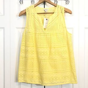Lucky Brand Eyelet Tank Top Blouse Yellow Small